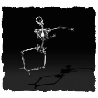 X-RAY SKELETON JOY LEAP B&W STANDING PHOTO SCULPTURE