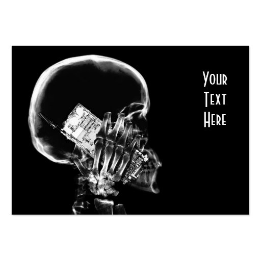 X-RAY SKELETON ON CELL PHONE BLACK & WHITE BUSINESS CARD TEMPLATE