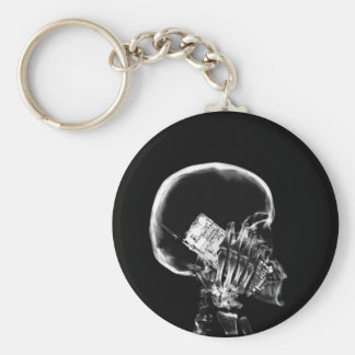 X-RAY SKELETON ON CELL PHONE BLACK & WHITE KEYCHAIN