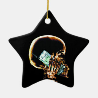 X-RAY SKELETON ON CELL PHONE CERAMIC ORNAMENT