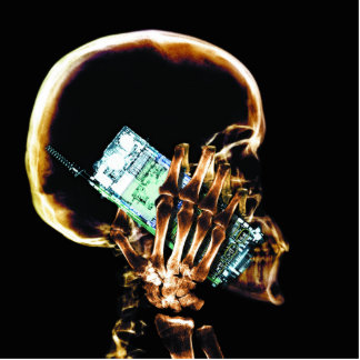 X-RAY SKELETON ON CELL PHONE PHOTO SCULPTURES