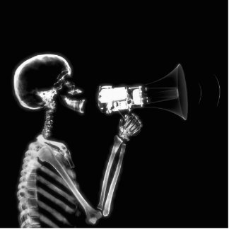 X-RAY SKELETON ON MEGAPHONE - B&W STANDING PHOTO SCULPTURE