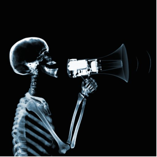 X-RAY SKELETON ON MEGAPHONE - BLUE PHOTO SCULPTURE