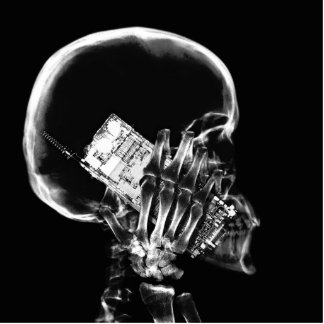X-RAY SKELETON ON PHONE - B W PHOTO CUT OUT