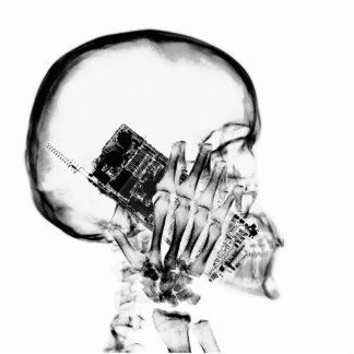 X-RAY SKELETON ON PHONE - B&W STANDING PHOTO SCULPTURE