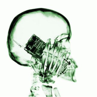 X-RAY SKELETON ON PHONE - GREEN PHOTO CUT OUTS
