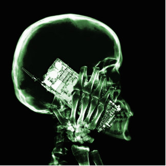 X-RAY SKELETON ON PHONE - GREEN STANDING PHOTO SCULPTURE