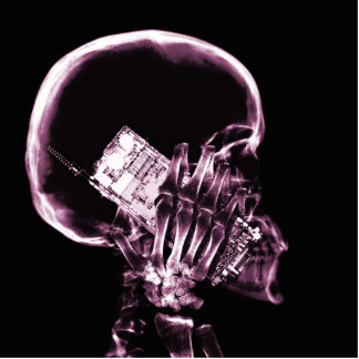 X-RAY SKELETON ON PHONE - PINK STANDING PHOTO SCULPTURE