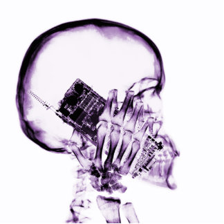 X-RAY SKELETON ON PHONE - PURPLE STANDING PHOTO SCULPTURE