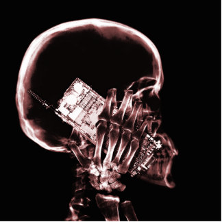 X-RAY SKELETON ON PHONE - RED STANDING PHOTO SCULPTURE