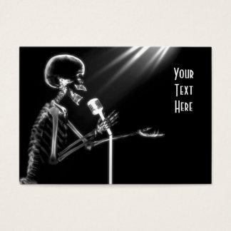 X-RAY SKELETON SINGING ON RETRO MIC - B&W BUSINESS CARD