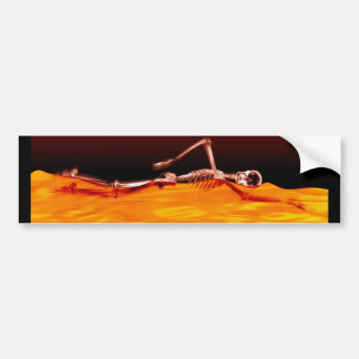 X-Ray Skeleton Swimming in Lake of Fire Bumper Sticker