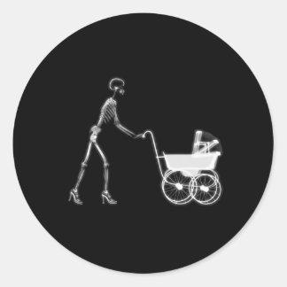 X-RAY SKELETON WOMAN & BABY CARRIAGE - B&W ROUND STICKER