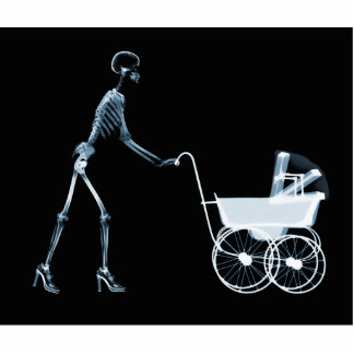 X-RAY SKELETON WOMAN & BABY CARRIAGE - BLUE STANDING PHOTO SCULPTURE