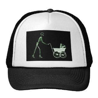 X-RAY SKELETON WOMAN & BABY CARRIAGE - GREEN TRUCKER HAT