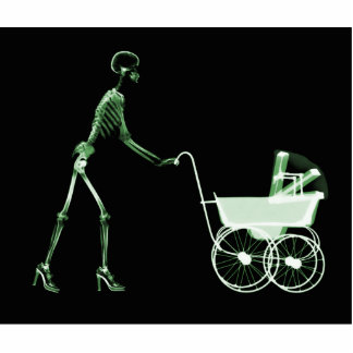 X-RAY SKELETON WOMAN & BABY CARRIAGE - GREEN STANDING PHOTO SCULPTURE