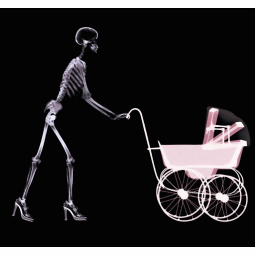 X-RAY SKELETON WOMAN & BABY CARRIAGE - PINK CUT OUTS