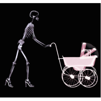 X-RAY SKELETON WOMAN & BABY CARRIAGE - PINK STANDING PHOTO SCULPTURE