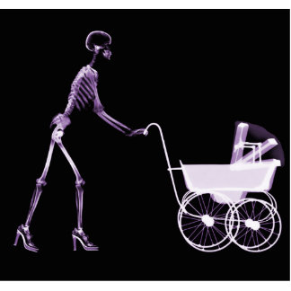 X-RAY SKELETON WOMAN & BABY CARRIAGE - PURPLE STANDING PHOTO SCULPTURE