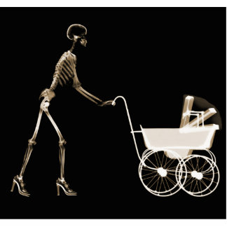 X-RAY SKELETON WOMAN BABY CARRIAGE - SEPIA PHOTO SCULPTURES