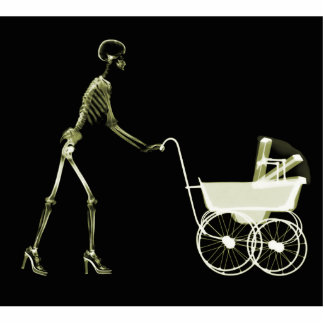 X-RAY SKELETON WOMAN & BABY CARRIAGE - YELLOW STANDING PHOTO SCULPTURE
