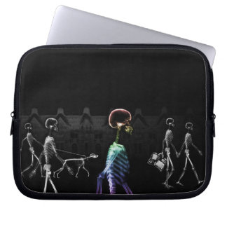 X-Ray Skeletons Midnight Stroll - B&W & Rainbow Laptop Sleeve