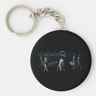 X-Ray Skeletons Midnight Stroll Black Blue Keychain