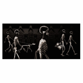 X-Ray Skeletons Midnight Stroll Black Sepia Photo Sculpture Magnet