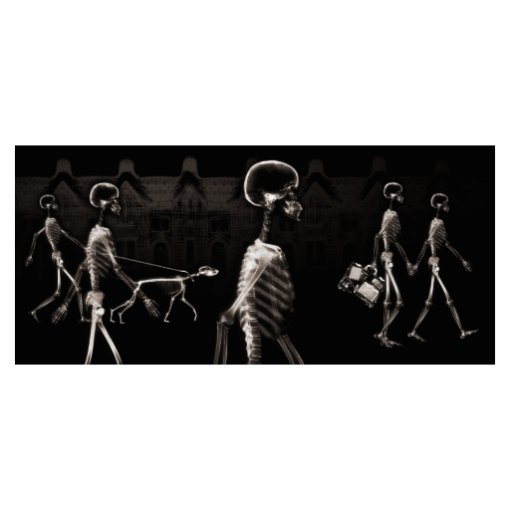 X-Ray Skeletons Midnight Stroll Black Sepia Cut Out