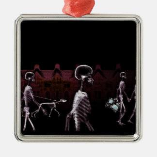 X-Ray Skeletons Midnight Stroll - Original Metal Ornament
