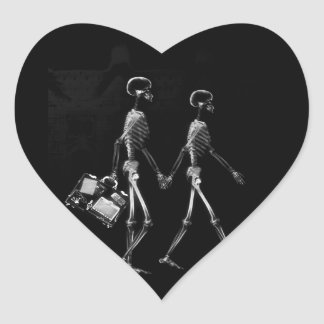 X-RAY VISION SKELETON COUPLE TRAVELING B&W HEART STICKER