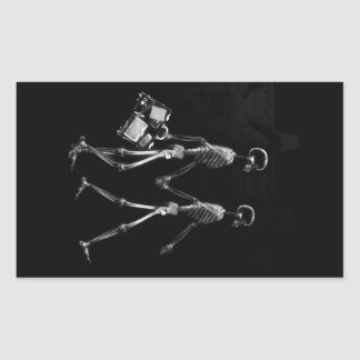 X-RAY VISION SKELETON COUPLE TRAVELING B&W RECTANGLE STICKER