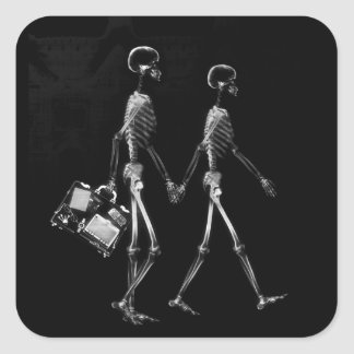 X-RAY VISION SKELETON COUPLE TRAVELING B&W STICKER