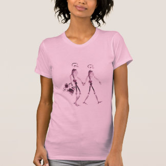 X-Ray Vision Skeleton Couple Traveling - Pink T-Shirt