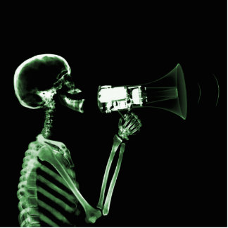 X-RAY VISION SKELETON ON MEGAPHONE - GREEN STANDING PHOTO SCULPTURE