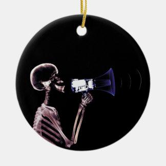X-RAY VISION SKELETON ON MEGAPHONE - ORIGINAL CERAMIC ORNAMENT
