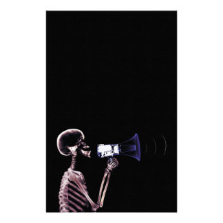 X-RAY VISION SKELETON ON MEGAPHONE - ORIGINAL STATIONERY DESIGN