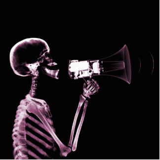 X-RAY VISION SKELETON ON MEGAPHONE -PINK STANDING PHOTO SCULPTURE