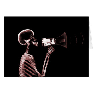 X-RAY VISION SKELETON ON MEGAPHONE - RED CARD