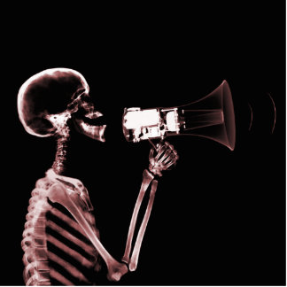 X-RAY VISION SKELETON ON MEGAPHONE - RED STANDING PHOTO SCULPTURE