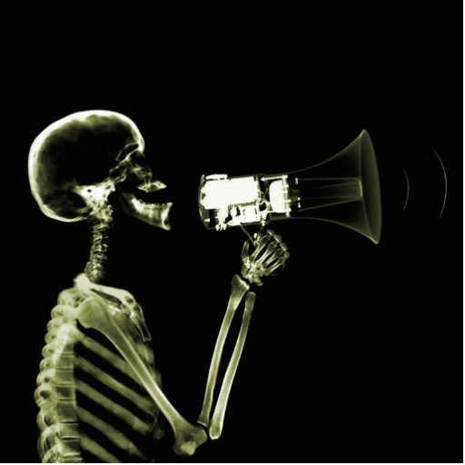 X-RAY VISION SKELETON ON MEGAPHONE - YELLOW PHOTO CUTOUTS