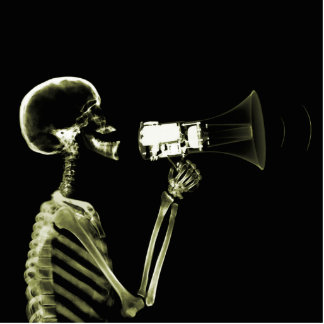 X-RAY VISION SKELETON ON MEGAPHONE - YELLOW STANDING PHOTO SCULPTURE