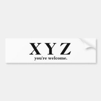 X, Y, Z ABC Game Help! Bumper Sticker