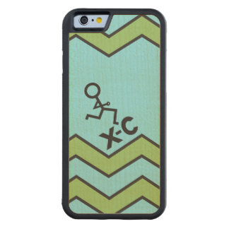 XC Cross Country Runner Chevron Pattern Carved Maple iPhone 6 Bumper Case