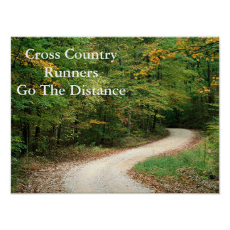 "XC RUNNERS GO THE DISTANCE Poster Paper  16""x 12"""