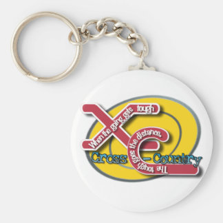 XC TOUGH MOTTO - CROSS COUNTRY BASIC ROUND BUTTON KEYCHAIN