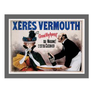 Xeres Vermouth Vintage Wine Drink Ad Art Postcard