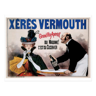 Xeres Vermouth Vintage Wine Drink Ad Art Postcard
