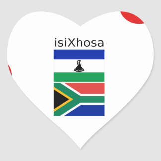 Xhosa Language And South Africa/Lesotho Flags Heart Sticker