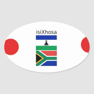 Xhosa Language And South Africa/Lesotho Flags Oval Sticker